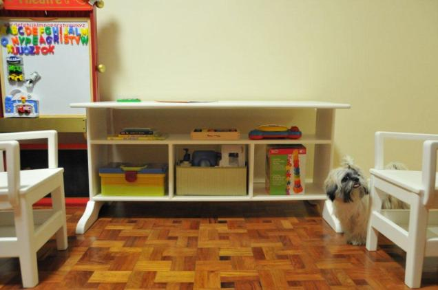 items under the table and uber cute doggy -- not included! :)