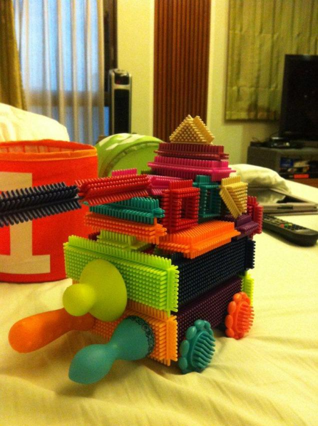 daddy being silly with my bristle blocks - created a battle tank yikes!