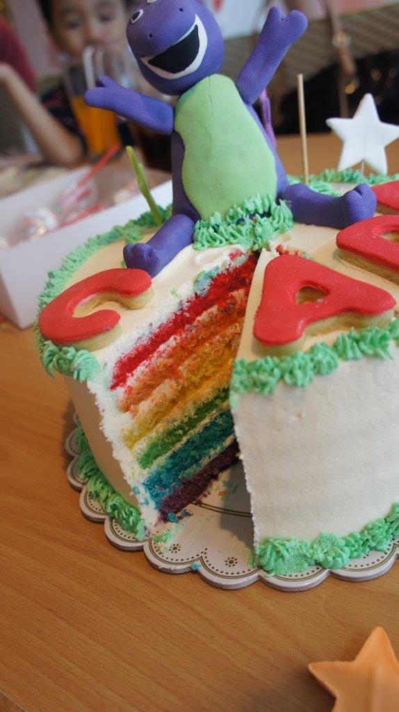 barney rainbow cake